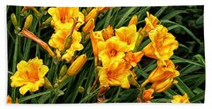 Yellow Daylilies Bath Towel