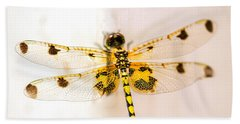 Yellow Dragonfly Pantala Flavescens Hand Towel by Iris Richardson