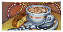 Yellow Dutch Bicycle With Cappuccino And Biscotti Bath Towel