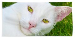 Yellow Eyes Bath Towel by Tine Nordbred