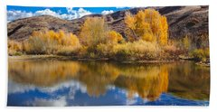 Yellow Fall Reflections Hand Towel