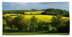 Bath Towel featuring the photograph Yellow Fields In The Sun by Jeremy Hayden