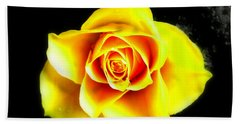 Yellow Flower On A Dark Background Bath Towel