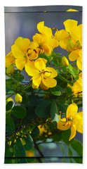 Yellow Flowers Hand Towel by Chris Thomas