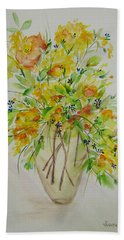 Yellow Flowers Hand Towel