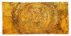 Yellow Gold Mixed Media Triptych Part 1 Bath Towel
