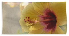 Yellow Hibiscus Hand Towel by Peggy Hughes