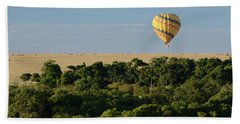 Yellow Hot Air Balloon Masai Mara Bath Towel by Tom Wurl