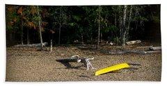 Yellow Kayak Bath Towel by Leone Lund