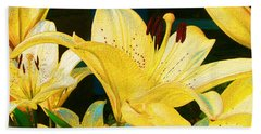 Yellow Lilies Bath Towel