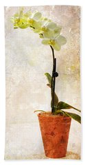 Hand Towel featuring the photograph Yellow Orchid by Patti Deters