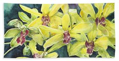 Yellow Orchids Bath Towel