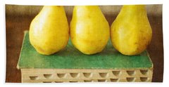 Yellow Pears And Vintage Green Book Still Life Bath Towel