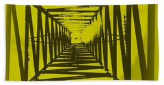 Yellow Perspective Bath Towel by Clare Bevan