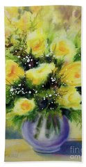 Yellow Roses Hand Towel by Kathy Braud