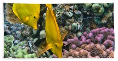 Bath Towel featuring the photograph Yellow Tang Pair by Peggy Hughes