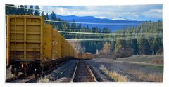 Yellow Train To The Mountains Hand Towel
