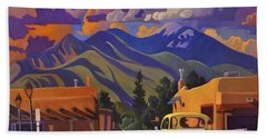 Bath Towel featuring the painting Yellow Truck by Art James West