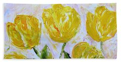 Yellow Tulips And Butterfly Hand Towel