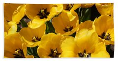 Hand Towel featuring the photograph Golden Tulips In Full Bloom by Dora Sofia Caputo Photographic Art and Design