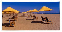 Yellow Umbrellas And Beach Chairs Hand Towel