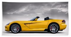 Yellow Viper Roadster Hand Towel by Douglas Pittman
