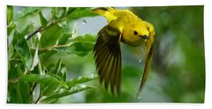 Yellow Warbler Takes Flight Hand Towel