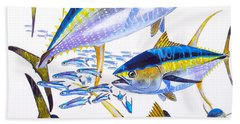 Yellowfin Run Hand Towel by Carey Chen