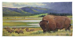Bath Towel featuring the painting Yellowstone Bison by Rob Corsetti