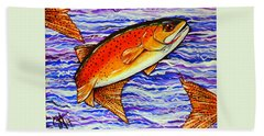 Yellowstone Cutthroat Hand Towel by Jackie Carpenter