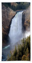 Lower Yellowstone Falls Bath Towel by Athena Mckinzie