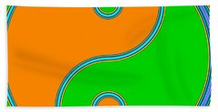 Yin Yang Orange Green Pop Art Bath Towel