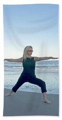 Yoga Woman On The Beach Bath Towel