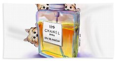 Yorkie Chanel Crazies Hand Towel by Catia Cho
