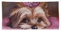 Yorkshire Terrier Princess In Pink Bath Towel
