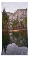 Yosemite Falls Reflection Hand Towel by Debby Pueschel