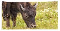 Hand Towel featuring the photograph Young Bison by Belinda Greb