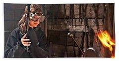 Young Blacksmith Girl Art Prints Hand Towel