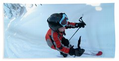 Young Boy With Helmet On Alpine Skiing Bath Towel