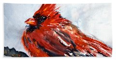 Bath Towel featuring the painting Young Cardinal by Beverley Harper Tinsley