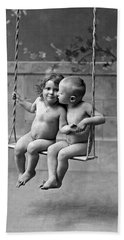 Young French Lovers On A Swing Hand Towel