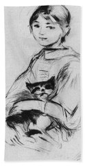 Young Girl With Cat Bath Towel