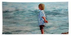 Young Lad By The Shore Bath Towel