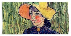 Young Peasant Girl In A Straw Hat Sitting In Front Of A Wheatfield Hand Towel