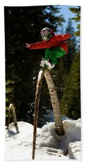 Young Snowboard Kid Shreds A Natural Hand Towel