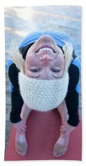 Young Woman Doing Yoga On Pier In Tahoe Hand Towel