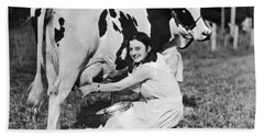 Young Woman Milking A Cow Hand Towel