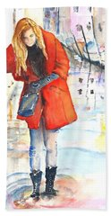 Young Woman Walking Along Venice Italy Canal Hand Towel