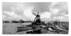 Zaanse Schans Pano In Black And White Hand Towel