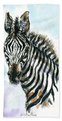 Hand Towel featuring the painting Zebra 1 by Mary Armstrong